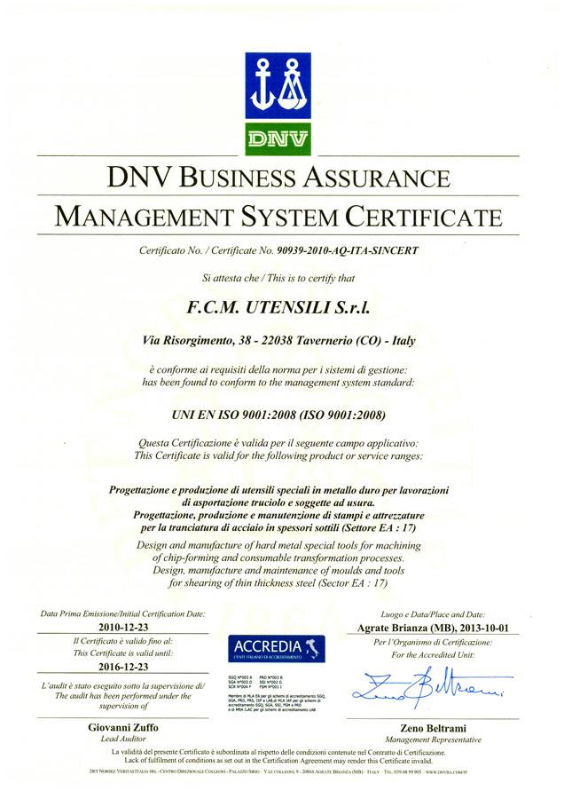 certificato fcmutensili